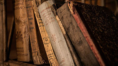 old books on shelve