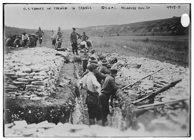 U.S. troops in trench in France during World War I