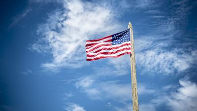 american flag, blue sky