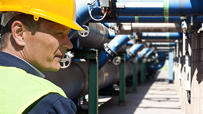 engineer at wastewater treatment center
