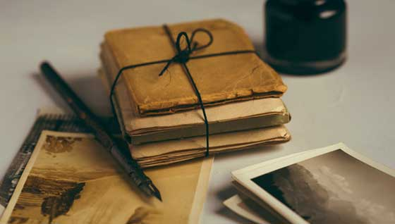 old notebook and photographs
