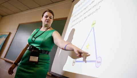 norwich graduate presenting a capstone project
