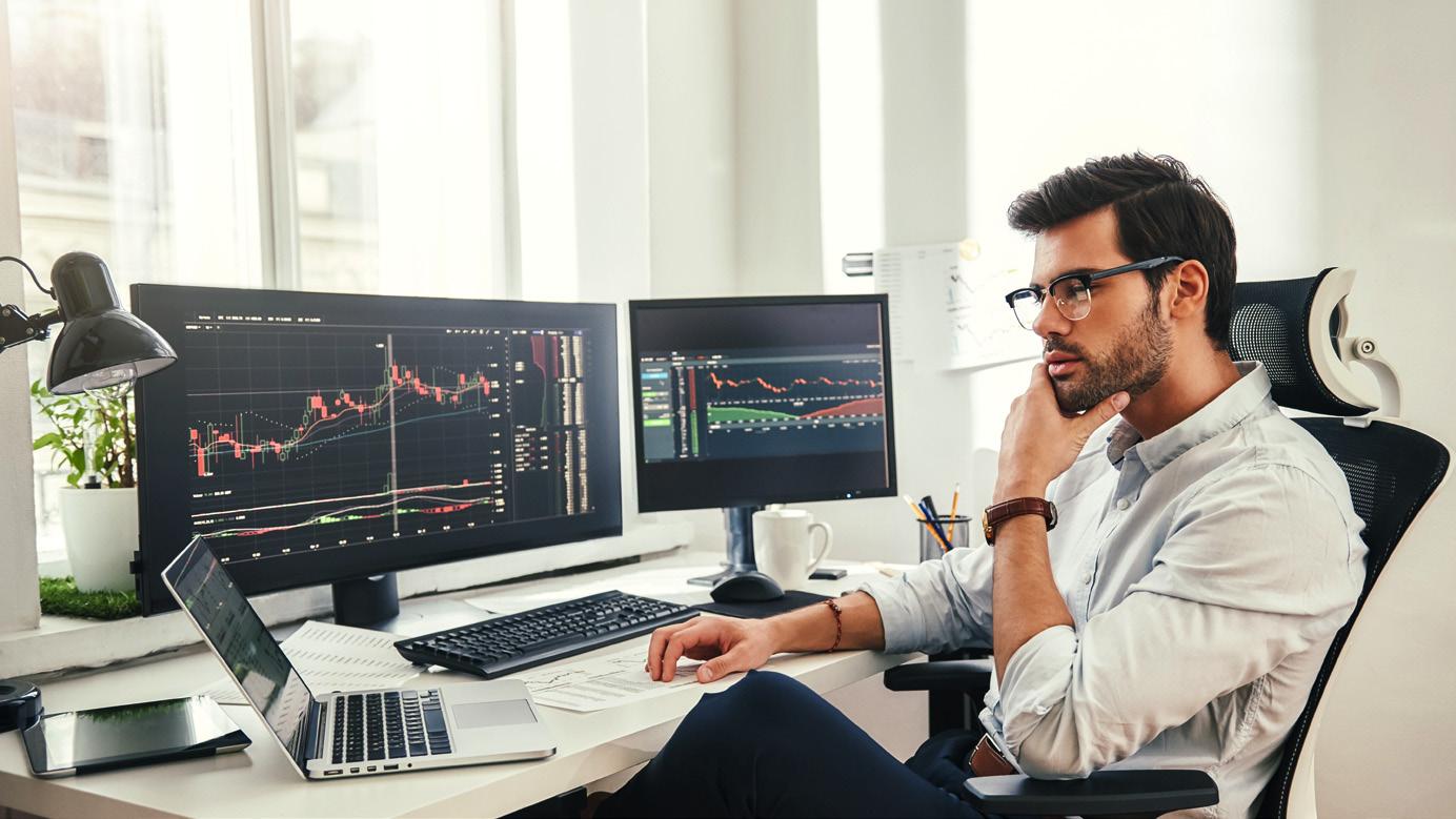 man review data at a computer