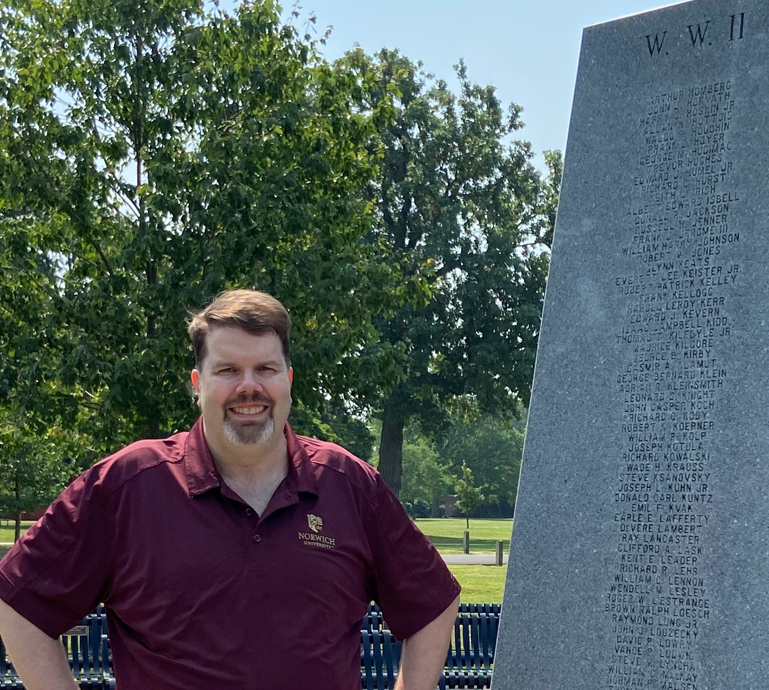 David Ulbrich at a WWII memorial