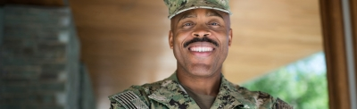 Military student smiling