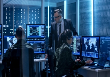 Chief information security officer monitors his security operations team.