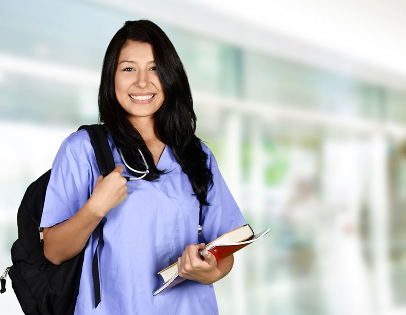 nursing student with books
