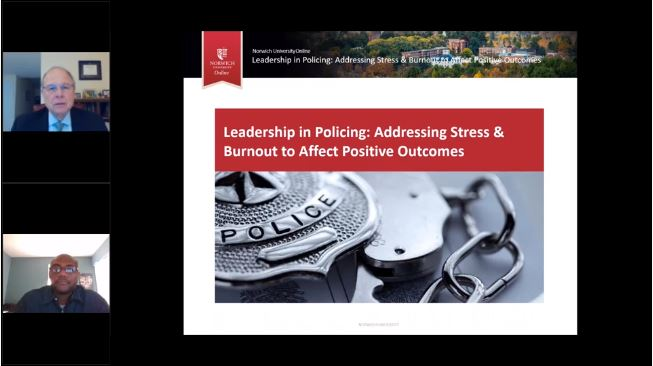 screenshot of Leadership in Policing webinar slide